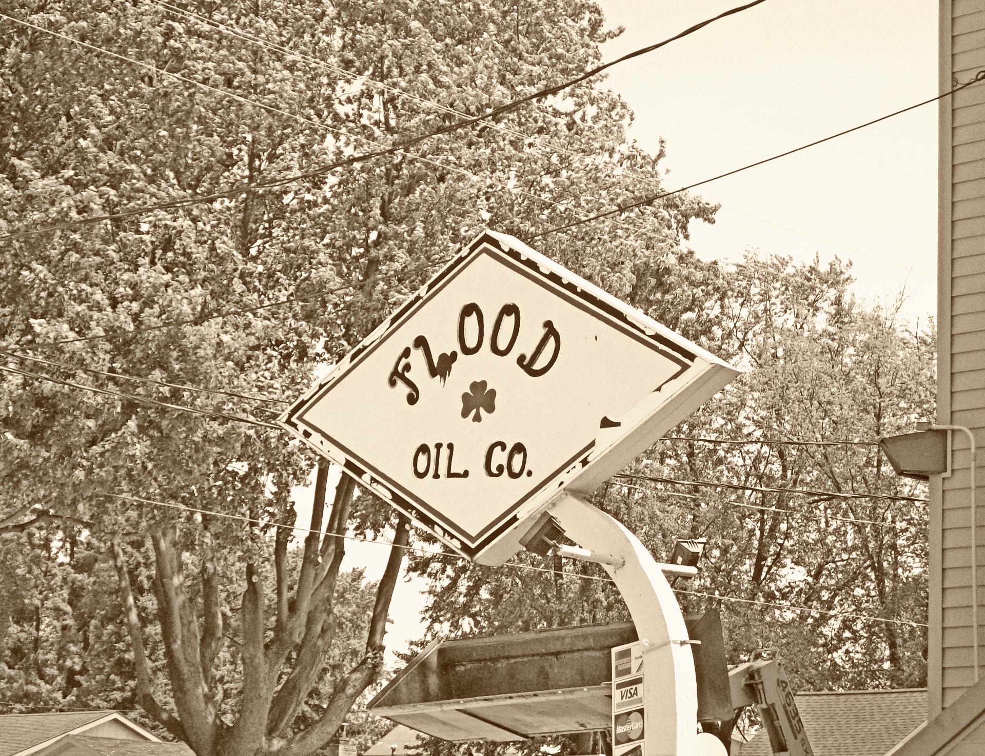 Flood Oil Company Retro Sign